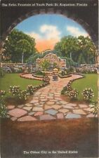 St. Augustine Florida~Fountain of Youth Park~The Patio Arch View~1940s~Postcard
