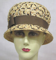 Vtg Ladies Hat Straw Cloche Cording Squiggles Brown Grosgrain 1960s NICE!