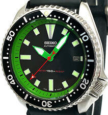 Vintage mens watch SEIKO diver 7002 mod w/new Green DAGGER hands & Chapter Ring!