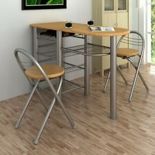 Kitchen Table Set & 2 Chairs Metal Solid Frame & Folding Stools Easy Storage