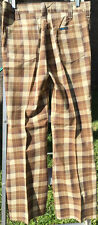 Ley Brown Checkered 70s Vintage Flare Pants