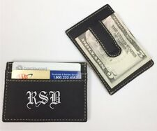 12 Personalized Engraved Leather Money Clip Black Groomsman Best Man Usher Gift