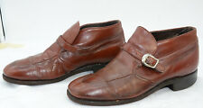 Vtg Sears Mens Sz 10 Tan Leather Buckle Beatle Casual Ankle Boots Booties