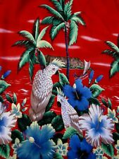 Hawaiian Cockatoo Shirt XL Red Floral Palm Trees Shirt Sleeve Pocket Button Up