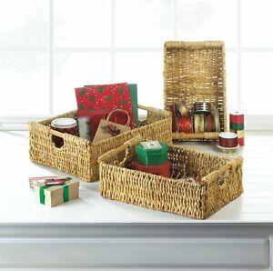 3PCS Nesting Storage Baskets Cosmetic Organizer For Bathroom Coffee Table End