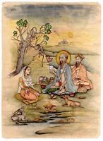 Indian Miniature Painting Mughal Queen Seated With Holy Man Tantra/Tantric Art