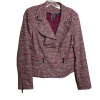 Nicole Miller for MARY KAY Sz 6 Pink Ruffle Trim Blazer Suit Jacket Tweed Womens