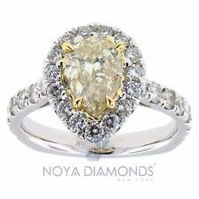 2.47 CARAT NATURAL CERTIFIED FANCY YELLOW DIAMOND ENGAGEMENT RING SET IN 18K