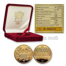 Ukraine 2007 Ostroh Bible 100 Hryven 1oz Gold Proof Coin with COA and Box S#7540