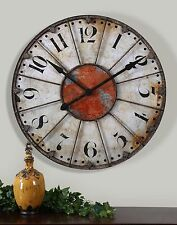 Crackled Ivory Round Wall Clock | Rustic Cottage Red