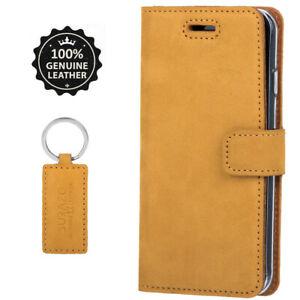 SURAZO® Premium Echtes Ledertasche Handyhülle Case Cover Etui -Farbe: Honig Gold