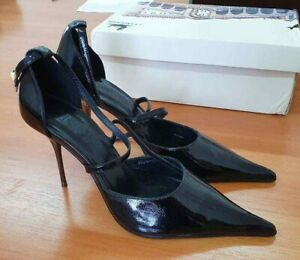 POLIVI EU38 US7.5 pointed toe steel stiletto high heels patent leather pumps