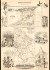 1874 ca LARGE ANTIQUE MAP- BARTHOLOMEW/PETERMANN, BRITISH POSSESSIONS, SOUTH AME