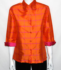 NEW Linea by Louis Dell'Olio SIZE XS 3/4 Sleeve Silk Blouse ORANGE PLAID
