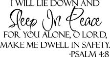SLEEP IN PEACE Bible Verse Wall Decal Quote Words Lettering Decor Inspiration