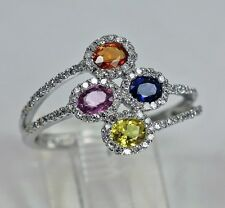 Exquisite 14K Gold Multi-color Sapphire & Diamonds Ring R.Klein Mint Condition