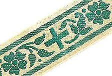 Religious Vestment Trim. Gold & Green Jacquard. 4 Yards