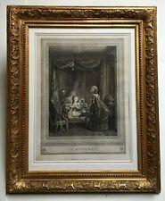 Gravure ancienne, Le restaurant, Encadrée et sous verre, Cadre d'époque, XIXe