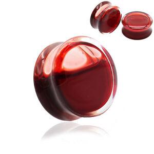 RED LIQUID BLOOD Acrylic Ear Plugs Piercing Tunnels Stretchers Jewellery PL19