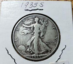 1935S Reverse Walking Liberty Half Dollar Nice F+ Graded Fairly