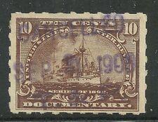U.S. Revenue Documentary Battleship stamp scott r168p - 10 cent 1898 issue