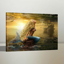 Print Art Oil Painting Mermaid and Pirate Ship Home Wall Decor on Canvas 24x30