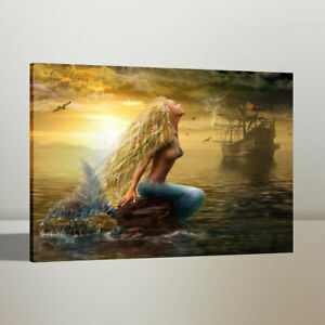 Print Art Oil Painting Mermaid and Pirate Ship Home Wall Decor on Canvas 16x20