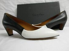 Calvin Klein Collection EU 39 US 9 M Mina White Black Leather Heels New Womens