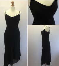 Karen Millen Black Silk 20s Vintage Strappy Backless Asymmetric Dress UK 10/12