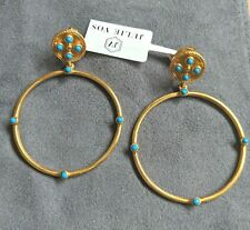 Julie Vos Paris Statement Pierced Dangle Earrings Pacific Blue New with Tags