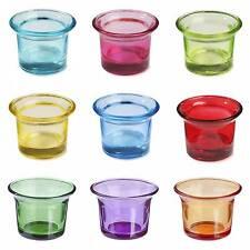 Auswahl bunt Teelichthalter, Glas, Teelichtglas, Windlichthalter, Teelichtgläser