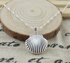 """Silver Shell Locket Pendant Photo Box Water Wave Chain Necklace 20"""""""