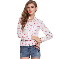 Women Summe long Sleeve chiffon Shirt Top Blouse Casual Button Tops