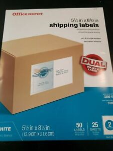 Office Depot Shipping Mailing Inkjet laser 5 1/2 x 8 1/2 50 Labels free shipping