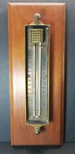 Antique Moeller Instrument Co Brooklyn Ny Brass Thermometer No 41176 Wood Board
