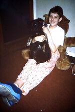 Vintage Kodak Kodachrome Slide Negative Smiling Young Girl With Her Dog Dec 1998