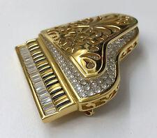 SWAROVSKI SWAN BABY GRAND PIANO PIN GOLD CRYSTALS BLACK ENAMEL
