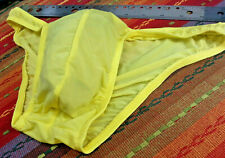 Mystery Men's Yellow Poser Sheer Bikini - Poly/Spandex - Unlined - Xxl New