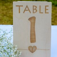 Wooden Wedding Table Numbers - Personalised and Engraved to Order