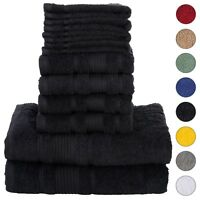NEW BLACK Color ULTRA SUPER SOFT LUXURY PURE TURKISH COTTON  8 PCS TOWELS SETS