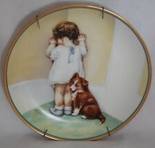 Bessie Pease Gutmann 1st Issue Hamilton Collection Dish In Disgrace Girl & Puppy