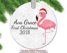 Baby First Christmas Ornament 2018 Baby Pink Flamingo Cute Custom Personalized