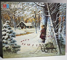 "MB Charles Wysockis Jigsaw Puzzle 1000 Pieces 'Cardinal Christmas' 22.28""x26.18"""