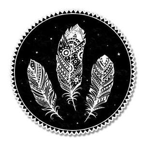 Feathers Tribal Design Circle Car Vinyl Sticker - SELECT SIZE