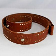 Roper Brown Leather Ladies Belt Sz XXL 42 to 44 Studs Rhinestones 49 Inches Long