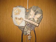 Kranz Herz Türkranz Willkommen Türdeko 20 cm grau Floristik Sommer Schmetterling