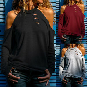 Womens Cold Shoulder Tops Ripped Blouse Jumper Ladies Long Sleeve T-shirt Shirt