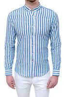 Camicia 100% lino uomo Diamond Casual bianco celeste rigata slim fit coreana