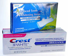 28 ADVANCED TEETH WHITENING STRIPS + CREST3D BRILLIANCE WHITENING TOOTHPASTE