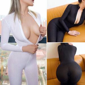 Women Striped Sheer Bodysuit Catsuit Two Way Zipper Romper Open Crotch Jumpsuit